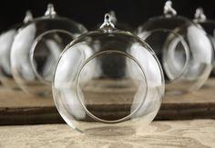 Scattered Entrance, cake table dance floor  Glass Hanging Orbs Flat Bottom 80mm / 3 inch (set of 6)
