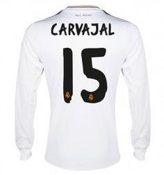 aaea5b0dd 13 14 Real Madrid Manica Lunga Calcio Maglia   15 CARVAJAL Maglia Bianca.  US-Soccer Jersey