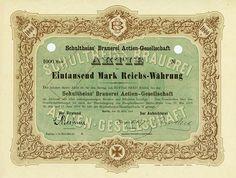 HWPH AG - Historische Wertpapiere - Schultheiss' Brauerei AG Berlin, 22.03.1919, Muster einer Aktie über 1.000 Mark, o. Nr.,