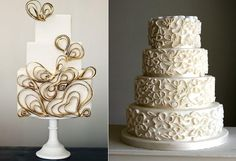 quilling or quilled cakes from Sweet and Saucy Cakes left and Flutterby Bakery right