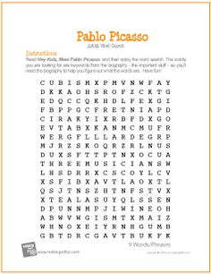 Printables Art History Worksheets drawing terms early finishers free printable word searches and pablo picasso search worksheet creative resources for elementary art education