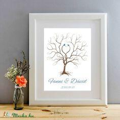 Esküvői ujjlenyomatfa kép feszített vásznon, A2, Esküvői fa, szerelmes madár pár, Emlék, Esküvői dekor, Esküvő, Esküvői dekoráció, Meghívó, ültetőkártya, köszönőajándék, Nászajándék, Meska