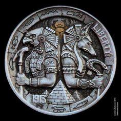 "Hobo Nickel ""Horus & Anubis"" hand-engraved by Aleksey Saburov. Antique Coins, Old Coins, Rare Coins, Egyptian Symbols, Ancient Egyptian Art, Egyptian Tattoo Sleeve, Custom Coins, Hobo Nickel, Coin Art"