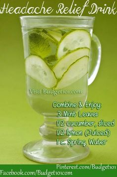 Make your own delicious Headache relief beverage . . .  http://www.budget101.com/health-home-remedies/477781-myo-headache-relief-beverage.html