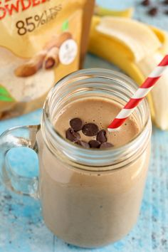 An easy recipe for a Peanut Butter Mocha Smoothie with better for you ingredients!
