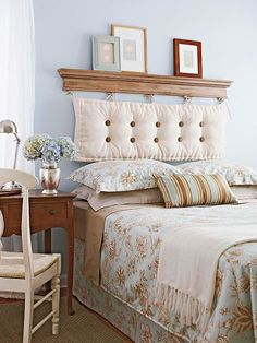 Removable DIY Bed Headboard Ideas Bringing Warmth and Softness into Bedroom Decor Headboard Designs, Headboards For Beds, Home Bedroom, Diy Bed, Bedroom Diy, Home Decor, Headboard Decor, Diy Bed Headboard, Bedroom Decor