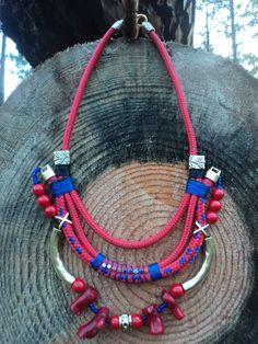handmade by Carolina Bernardo coral. nautical cord. bib necklace. handmade. unique