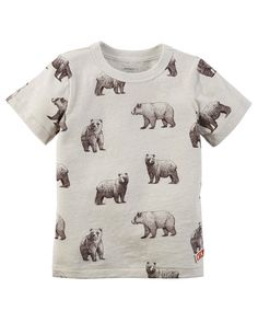 Crafted in super soft snow yarn with an allover bear print, he'll love to play in this tee! Pair with easy pull-on shorts for a go-to style. Baby Boy Tops, Carters Baby Boys, Toddler Boys, Toddler Boy Fashion, Little Boy Fashion, Bear Graphic, Graphic Tees, Carter Kids, Bear T Shirt