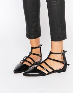 Black Pointy Caged Ballet Flats, $42