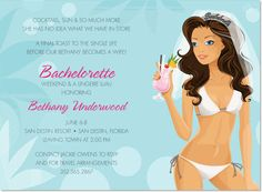 Beach Bachelorette Brunette Invitations by Noteworthy Collections at InvitationBox.com