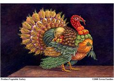 """""""Produce/Vegetable Turkey,"""" Teresa Fasolino -- Click through for a list identifying all the fruits and veggies used in this Archmboldo-like illusion. Vegetarian Turkey, Turkey Painting, Christmas Turkey, Free Online Jigsaw Puzzles, Great Logos, Animation Film, Fall Pumpkins, Happy Thanksgiving, Favorite Holiday"""