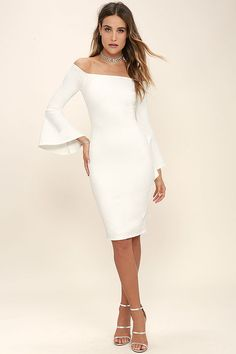 Everything you could hope for has arrived in the stylish All She Wants White Off-the-Shoulder Midi Dress! Medium-weight stretch knit sweeps across an off-the-shoulder neckline (with no-slip strips) into long bell sleeves. Darted bodycon bodice and midi skirt with kick pleat. Hidden back zipper.