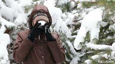 Young woman is drinking tea. https://en.fotolia.com/id/131142498 #fotolia #woman #girls #drink #tea #coffee #food #winter #forest #picnic #stockvideo