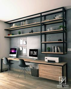 Home Office Layouts, Home Office Setup, Home Office Space, Modern Home Offices, Small Home Offices, Office Interior Design, Office Interiors, Home Room Design, House Design