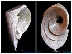 Opus 158 Utah Alabaster mounted on a Belgian Marble base with turning pin.