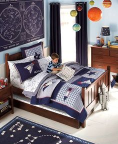 Outer space wall sticker decals for boys room wall mural for Outer space bedroom design