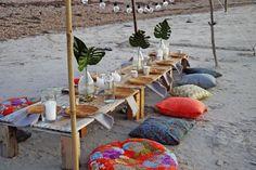 Boho beach dinner with tropical theme. Beach Dinner, Dawn, Eve, Tropical, Table Decorations, Boho, Dining, Home Decor, Food