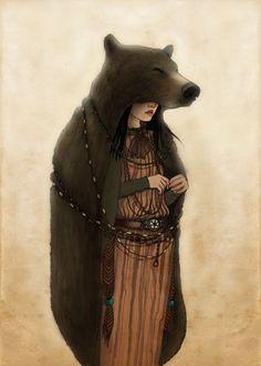 Illustrations by Emilia Dziubak, As Goddess, the She-Bear is our primal mother –… Spirit Bear, My Spirit Animal, Poster Xxl, Bear Totem, Art Magique, Bear Illustration, Spirited Art, Fairytale Art, Love Bear