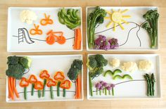 This Kids Plate DIY Encourages Mealtime Play | grab an oven-safe plate, a porcelain marker and a template. Then draw your scene and glaze it, and you're ready to start filling your kid's plate with food to create a scene. - Foodista.com