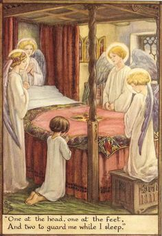 Vintage 1928 Cicely Mary Barker Children's Print Girl Kneeling Saying Her Prayers By Bedside Angels Guarding Over Book Plate Illustration Cicely Mary Barker, Catholic Art, Religious Art, Catholic Prayers, Guardian Angels, Flower Fairies, Fantasy Illustration, Angel Art, Christian Art
