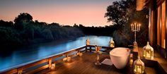 Book your stay at Royal Chundu, an award winning safari lodge in Zambia, set on a private stretch of the Zambezi River near Victoria Falls. Outdoor Baths, Outdoor Bathrooms, Game Lodge, Victoria Falls, Island Resort, Africa Travel, Luxury Travel, The Good Place, Live