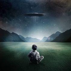 Boy and UFO iPad Wallpaper HD