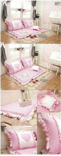 Korean floor cushion and pillow set (image only). Cute! Going to make this for my Granddaughters