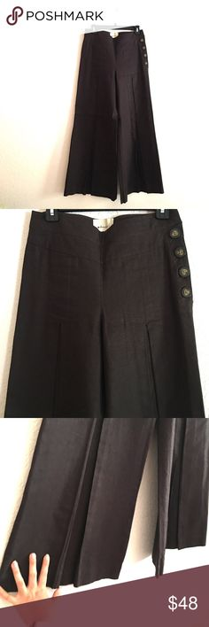 Cool Anthropology very wide leg pants Very stylish New Anthropology wide split leg pants! Love them with ultra high heels! I do have a nice ultra matching heels in my closet too! Im open for reasonable offers! Anthropologie Pants Wide Leg