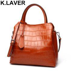 K.LAVER Women Casual Tote Genuine Leather Handbag Bag Alligator Crocodile  Vintage Shopping Bag Crossbody Shoulder Bags Female-in Shoulder Bags from  Luggage ... 77f71ce272c6c