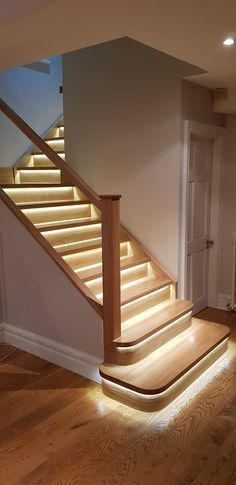 Solid Oak cladding completed in Peak District. Solid oak cladding over existing staircase with intelligent Led lights. Led lights switch on/off automatically. Check out our Facebook shop or visit our showroom for more info. #Fiximer #stair #stairs #staircase #banister #bespoke #reiser #step #steps #balustrade #chrome #illumination #led #light #handrail #oak #cladding #renovation #gloss