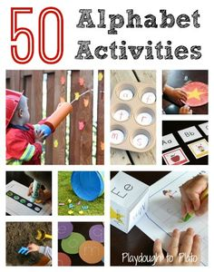 50 Fun Alphabet Activities for Kids - Playdough To Plato by barbm Preschool Letters, Kindergarten Literacy, Early Literacy, Preschool Learning, Kids Learning, Alphabet Activities, Literacy Activities, Educational Activities, Preschool Activities