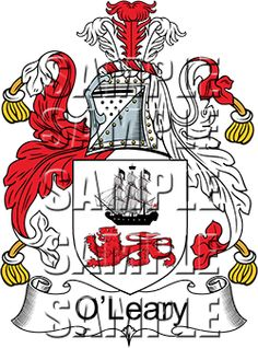 O'Leary Family Crest apparel, O'Leary Coat of Arms gifts