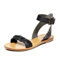 Leather Braided Ankle Strap Sandal