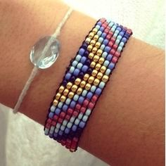 """Bracelet brésilien en perles tissées style navajo """"midnight"""""""
