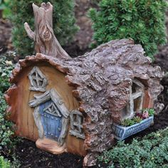 Fiddlehead Fairy Garden Log Home with Swinging Door: Fiddlehead Fairy Village - Log House Fairy Home L Fairy Garden Houses, Gnome Garden, Lawn And Garden, Garden Art, Fairy Gardening, Hobbit Garden, Organic Gardening, Garden Ideas, Garden Theme