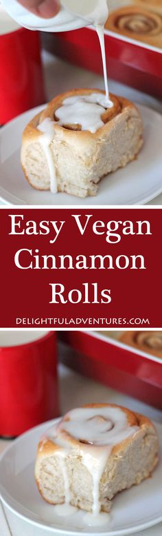 Soft, fluffy, easy vegan cinnamon rolls that can be made right away or prepared the day before and baked in the morning. They're perfect for enjoying with tea or serving at brunches, breakfast or during the holidays! #cinnamonrolls #vegancinnamonrolls #cinnamonbuns #vegancinnamonbuns #veganrolls via @delighfuladv