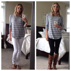 August Fix. Corinna Striped Heathered Dolman Top. The fit and drape is great. The fabric is super soft.