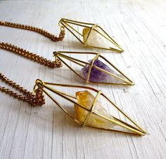 Geometric Prism Brass and Raw Quartz Jewelry