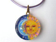 Gold Sun Face and Blue Crescent Moon Face by CapturedStarlight