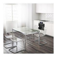 Mueble de cocina con color fuerte verde ideas para el for Mesa glivarp cristal
