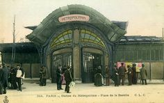 place de la Bastille - Art nouveau station by Hector Guimard, around Sadly, this was destroyed in Architecture Parisienne, Architecture Art Nouveau, Art And Architecture, Paris 1900, Old Paris, Vintage Paris, Old Pictures, Old Photos, Vintage Photos