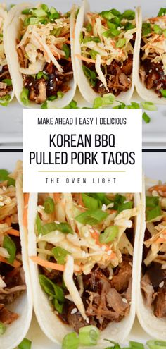 Korean BBQ Tacos with Quick Kimchi Korean BBQ Pulled Pork Tacos with Quick Kimchi and Korean BBQ Sauce - such incredible flavor, simple ingredients and all make-ahead friendly. Great for a weeknight meal or entertaining. Pulled Pork Tacos, Pulled Pork Recipes, Bbq Pork, Pulled Pork Sauce, Korean Bbq Tacos, Korean Bbq Sauce, Asian Tacos, Taco Bar, Asian Recipes
