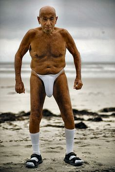 Is it the socks and sandels.....This will be Rick at 80...He might show up at church wearing this!