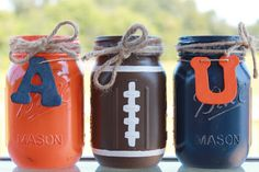 Auburn University Collegiate Football Painted/Distressed Mason Jars by… Mason Jar Projects, Mason Jar Crafts, Mason Jar Diy, Auburn Game, Auburn Football, Auburn Tigers, Clemson, College Football, Football Team