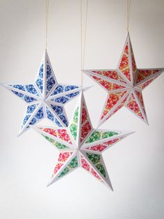 DIY Christmas star ornaments | Set of 6 printable 3D paper craft templates | Instant download | Christmas star templates by Paperica