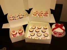 21st red and white cupcakes and cake.Smitten cakes
