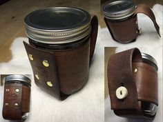 16oz Brown Leather Mason Jar Mug with Antler Buttoned Handle.