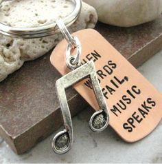 When Words Fail Music Speaks Key Chain with silver music note and split ring, makes a great gift, women, men on Etsy, $14.95