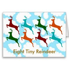 "Eight Tiny Reindeer - Inside:  ""All wish you a very Merry Christmas"""