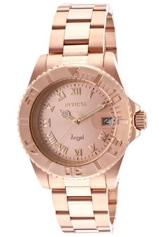 Invicta Women's Angel 18K Rose Gold Plated Rose-Tone Dial - Watch 14322,    #Invicta,    #14322,    #WatchesDiverQuartz